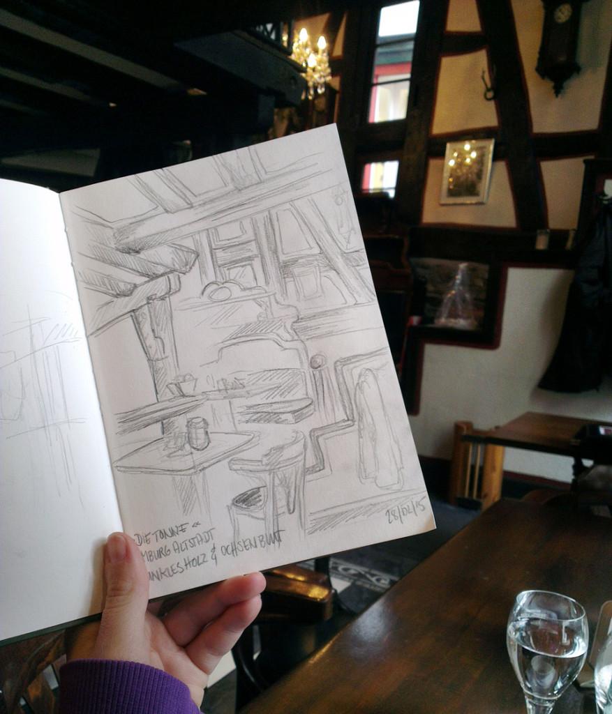 """""""Zeichne was Du siehst!"""" Also einfach mal versuchen das Innere des Cafés zu zeichnen."""