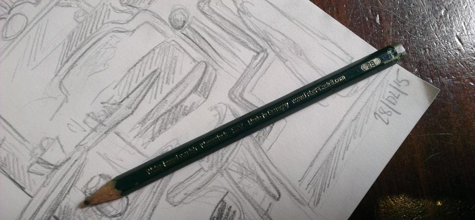 Laut Hinweis vom Workshop auf der Creative World am Besten für Skizzenbücher geeignet - Der Bleistift mit Härte 2B.