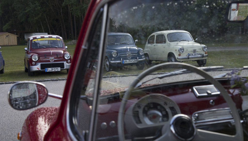 Das Treffen begann feucht fröhlich - aber unsere Autos sind zwar süß doch nicht aus Zucker!