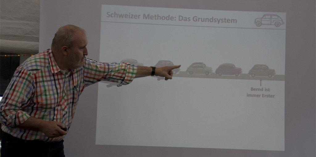 """Bernd verdeutlicht die """"Schweizer Methode"""" für die Ausfahrt am Samstag."""
