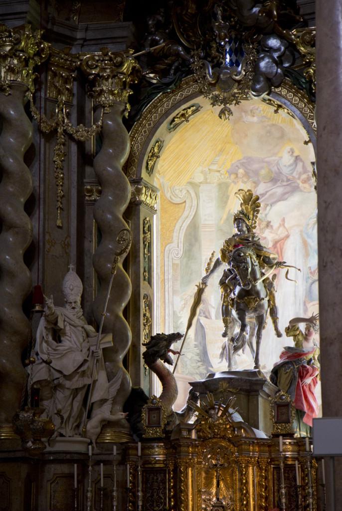 De heilische Schorsch – Sankt Georg im Altarbild der Klosterkirche Weltenburg.