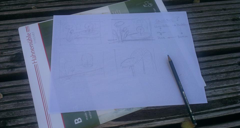 Erste Skizzen der Aufteilung: Das Format war mit 40x30 cm für den Wettbewerb vorgegeben.