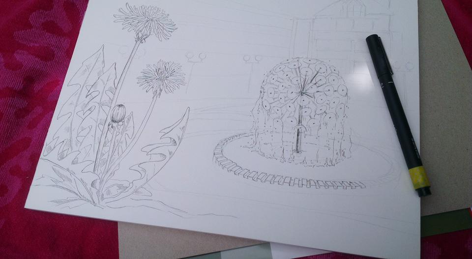 Hahnemühle Papier Bamboo – schön zum Zeichnen doch leider löste sich der Papierblock von seiner Rückpappe.