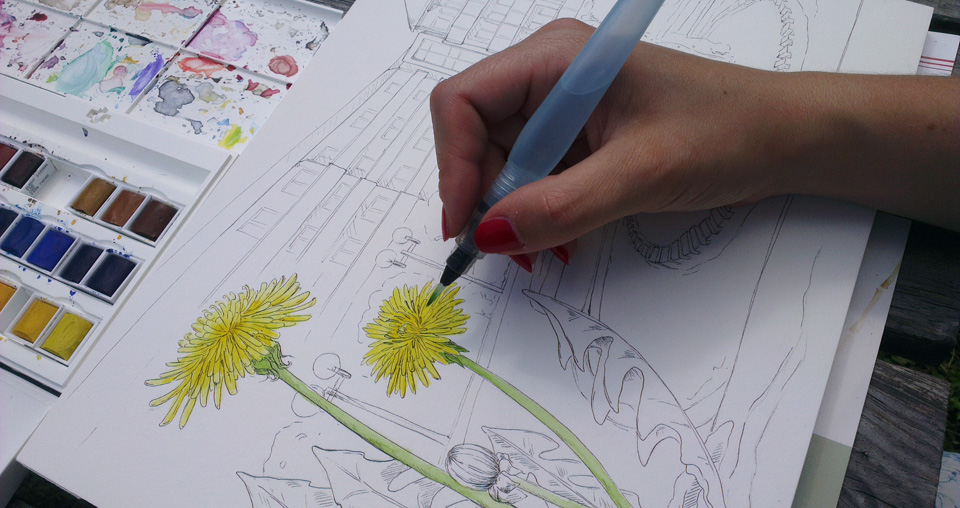 Meine Art Farbe aufs Papier zu bringen: Aquarellfarbe mit dem Pentel Waterbrush.