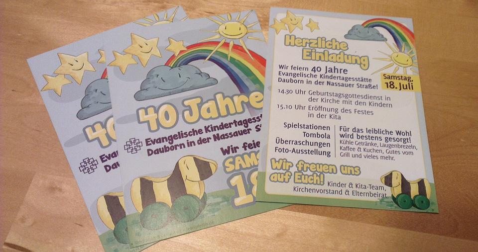 Der Flyer lädt ein zum Fest in der Kindertagesstätte.