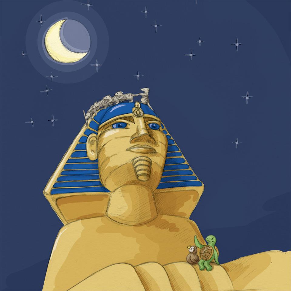 Kröt und Schuhuu auf dem Fuße der Sphinx in Ägypten.