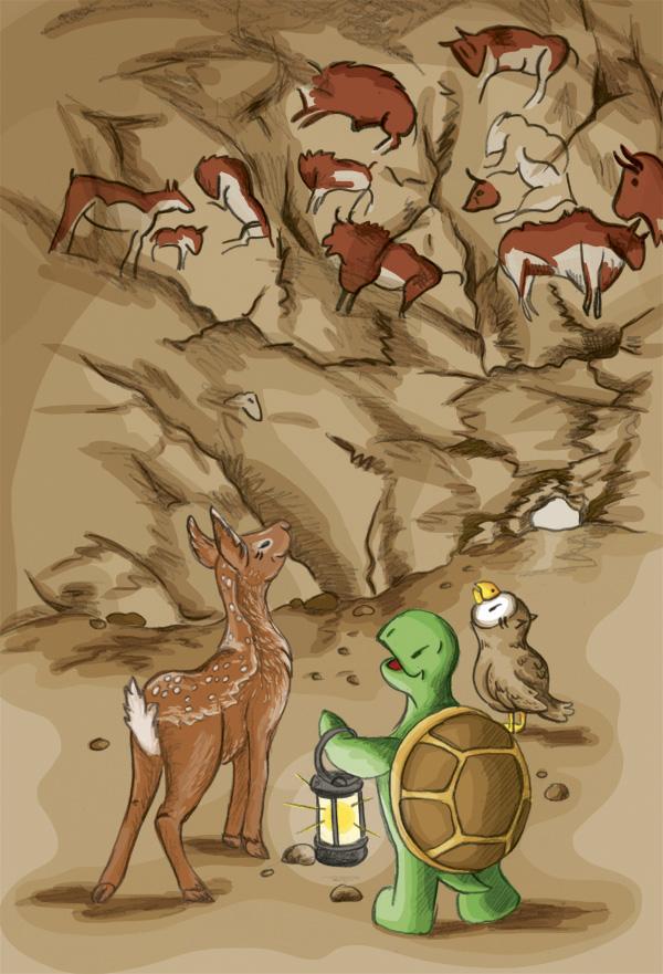 »Schau mal, Schuhuu, das sind doch Rinder, oder?« Die drei Freunde in der Höhle von Altamira.