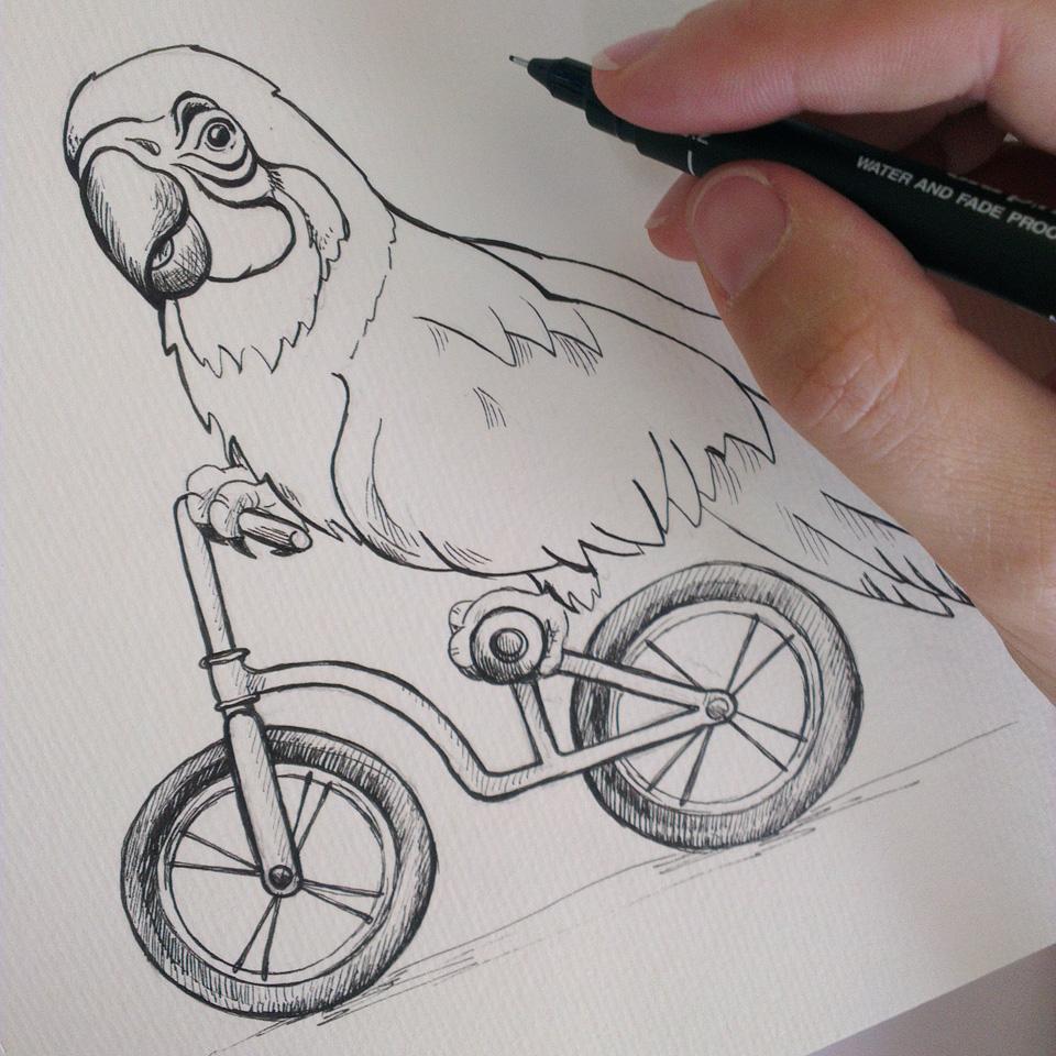 """""""Bird on Bike"""" Tuscheumsetzung der Skizze mit dem Ara."""