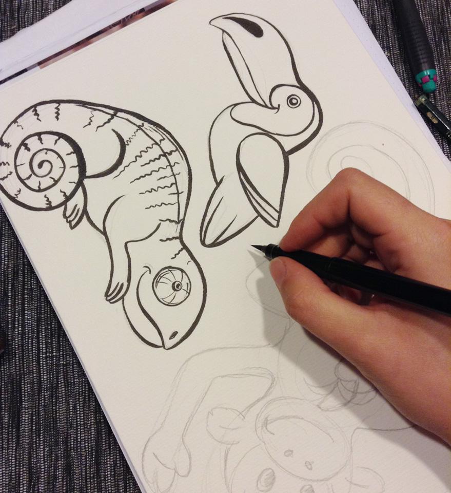 Outlines zeichnen mit dem Pentel Pocketbrush.