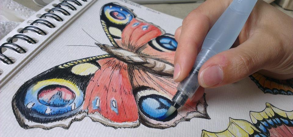 Noch mehr Farbe: Dank der Waterbrush-Pinsel kann man sich immer dichter an die gewünschte Farbintensität heran tasten.
