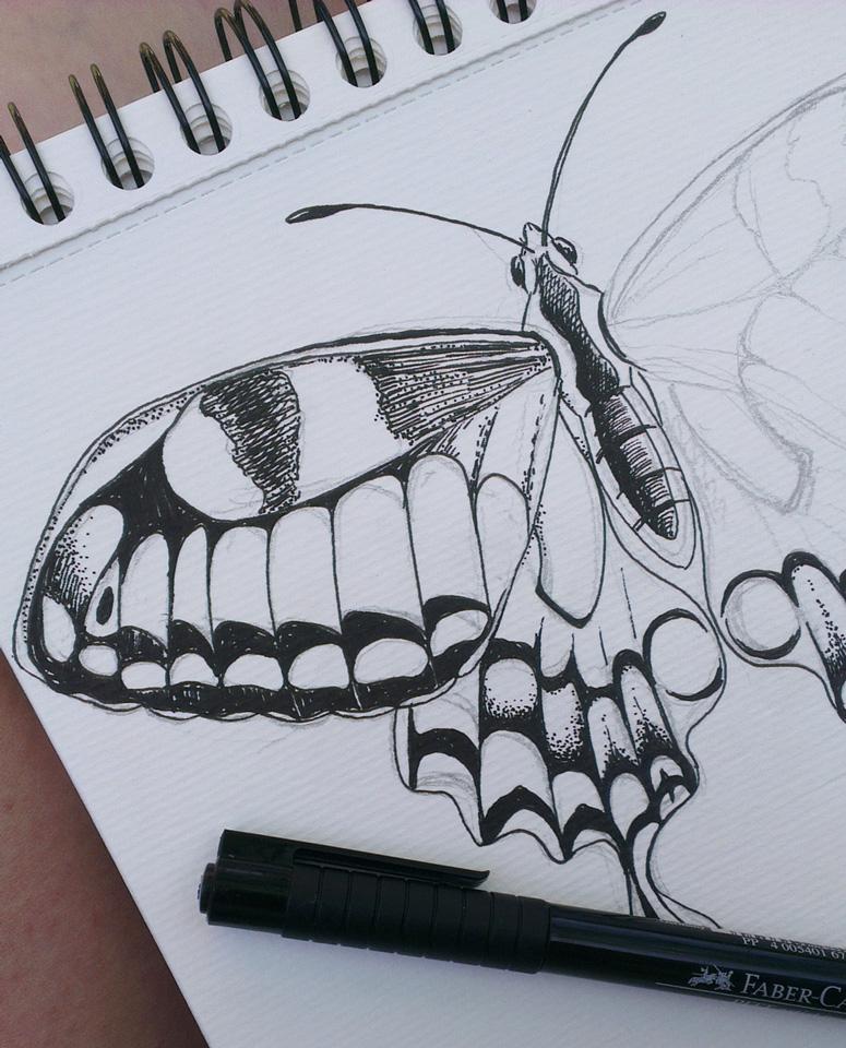 Making of: Vorzeichnung mit Bleistift und Ausarbeitung mit Faber-Castell Pitt Artist Pen.