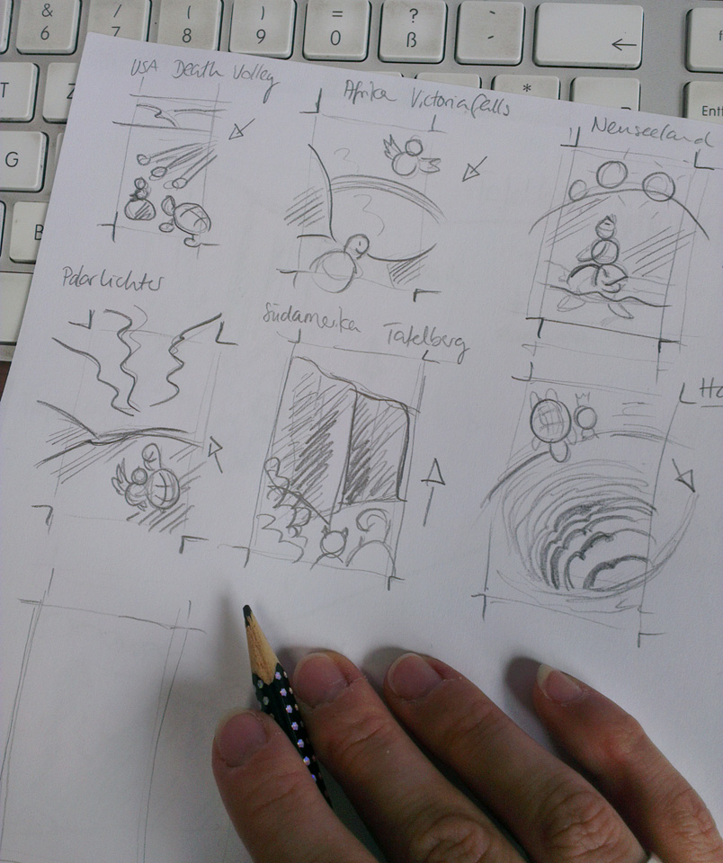 Die ersten Mini-Skizzen für die Kalendermotive 2016 – ob ich's wohl noch schaffe?