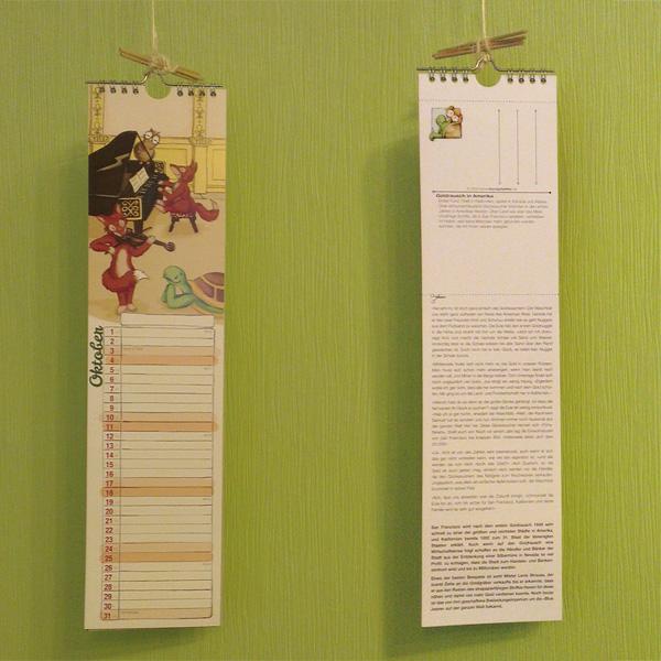 So hängt der Kalender 2015 gerade in unserem wohnzimmer.