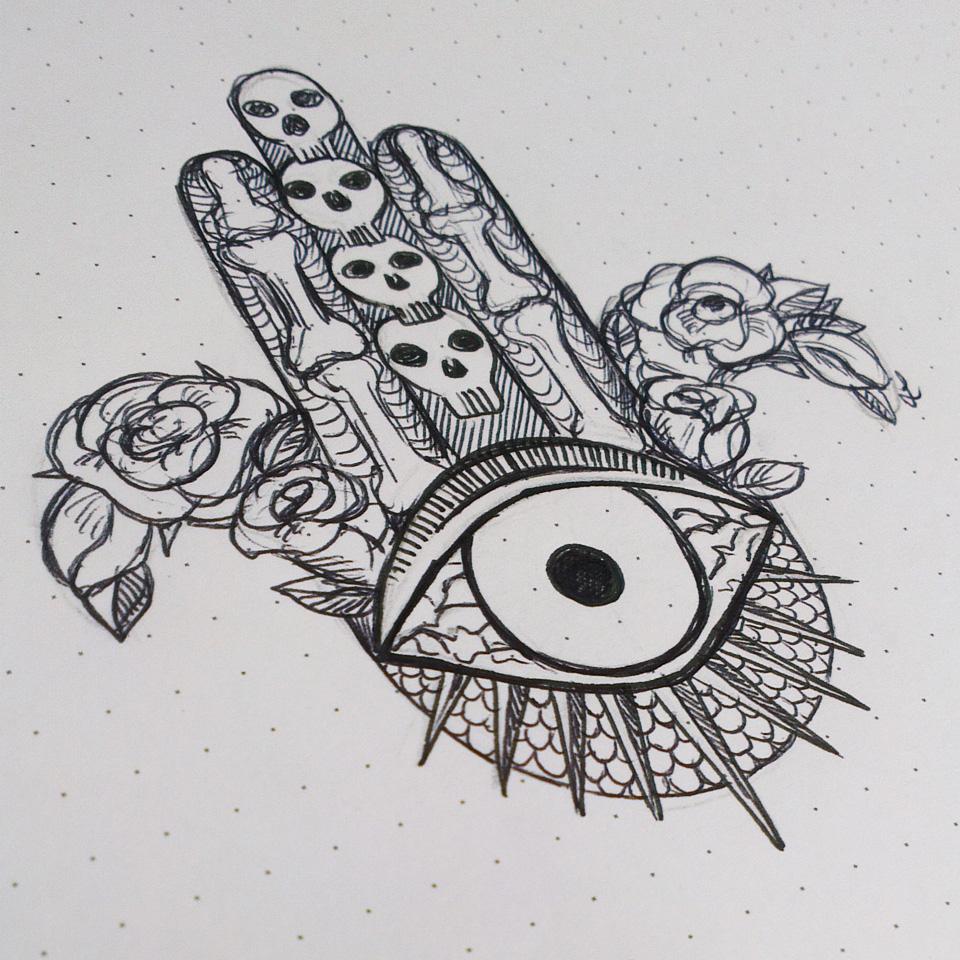 Eine etwas andere Hand der Fatima: Creepy Hamsa – eine schnelle Kritzelei mit Kugelschreiber.