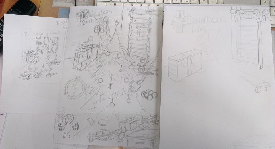Von der groben Idee, zur ersten Skizze bis zur eigentlichen Illustration des Wimmelbildes – noch ganz am Anfang.