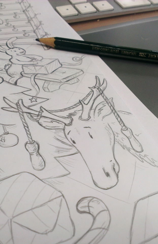 Der arme Hirsch, da hat sich doch das Springseil in seinem Geweih verheddert.