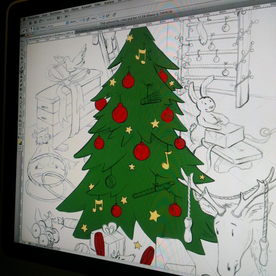 Nachtschicht am Monitor – die ersten Farbflächen der Illustration.