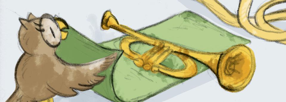 Auch dabei: Schuhuu, die Eule, verpackt eine Trompete.