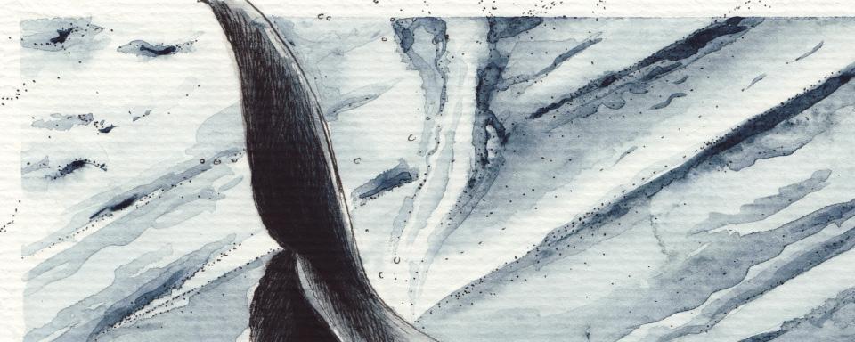 Ein Ausschnitt des Bildes – die feinen Tuschepunkte und die Aquarellfarbe.