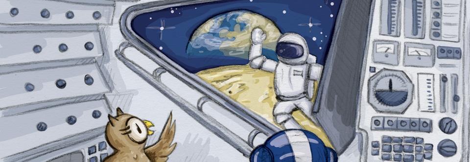 »Houston, der Adler ist gelandet!« spricht der Astronaut in sein Mikrofon.