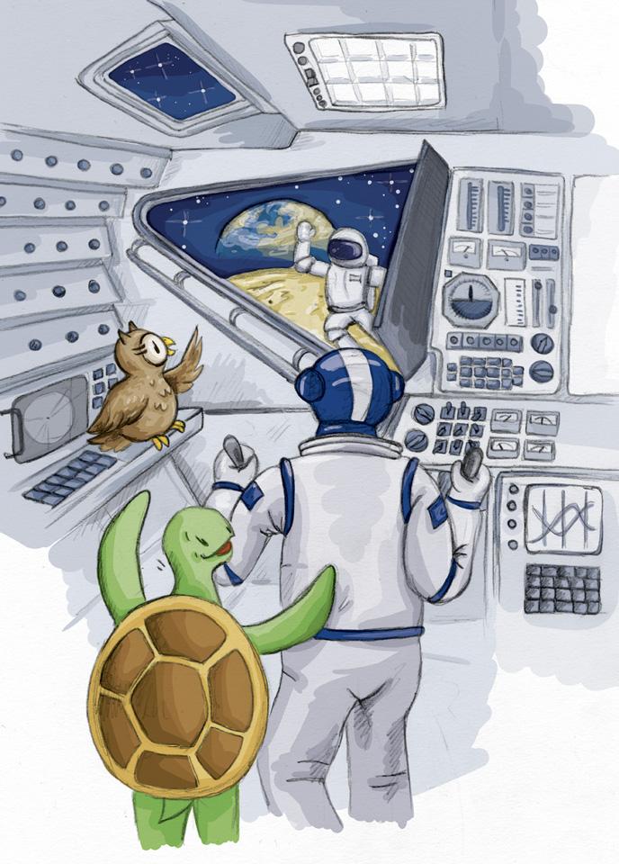 Schuhuu schaut aus der Mondlandekapsel was der Astronaut dort draußen macht.