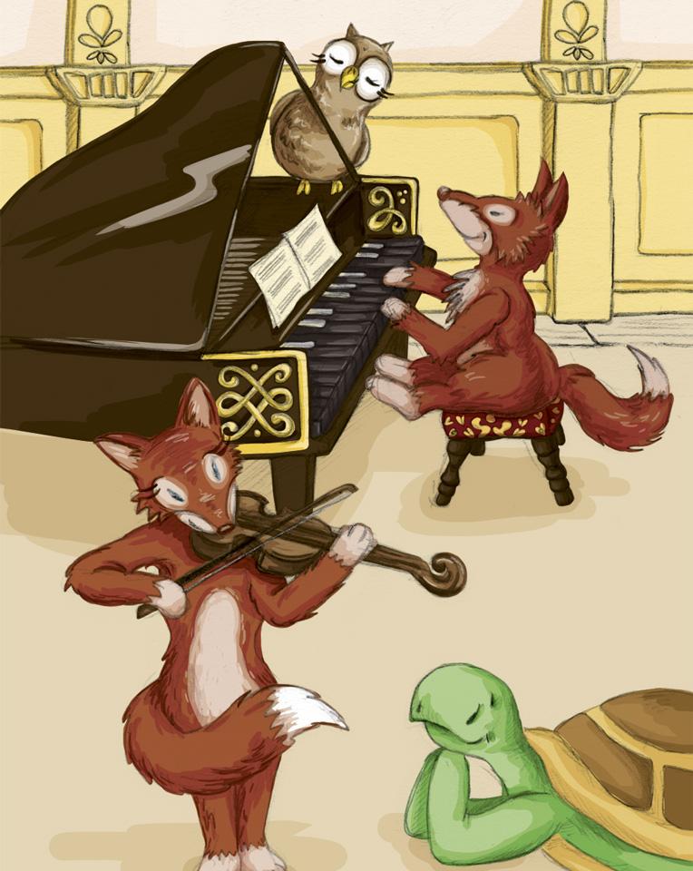 Kröt und Schuhuu lauschen der Musik von Mozart und seiner Schwester auf dem Kalender Motiv für den Oktober.