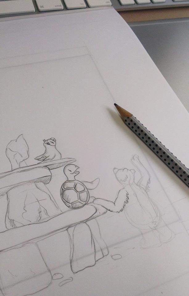 Beginn der Zeichnung auf dem Layoutblock von Hahnemühle.