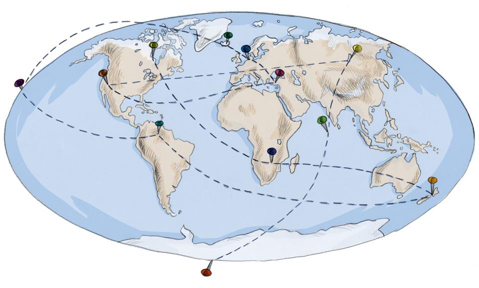 Die Route um die Welt: Vom Südpol bis zum nördlichen Polarkreis!