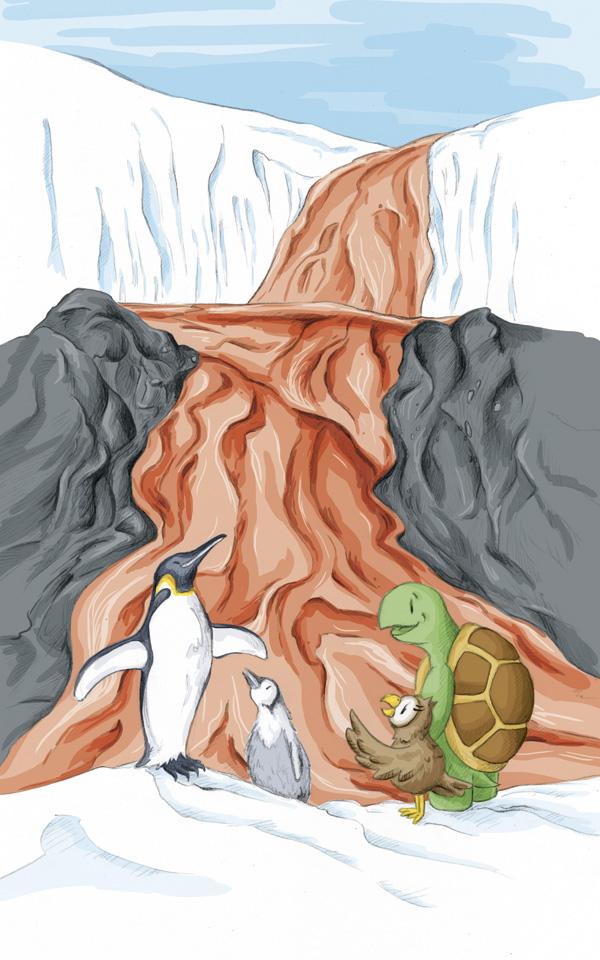 """Die beiden Freunde mit den Pinguinen Fredi und Flöti am """"Blutgletscher"""" der Antarktis."""