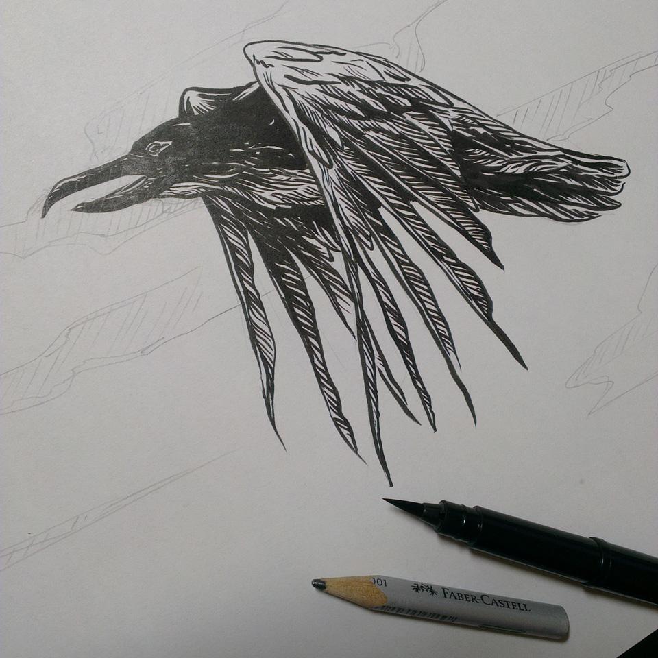Black Bird. Zeichnung mit dem Pentel Pocketbrushpen.