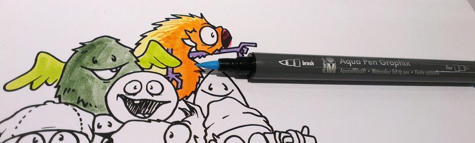 Nicht das passende Papier für den Wasserbasierten Graphix Aqua Pen - trotzdem schöne Spitze und kräftige Farben.