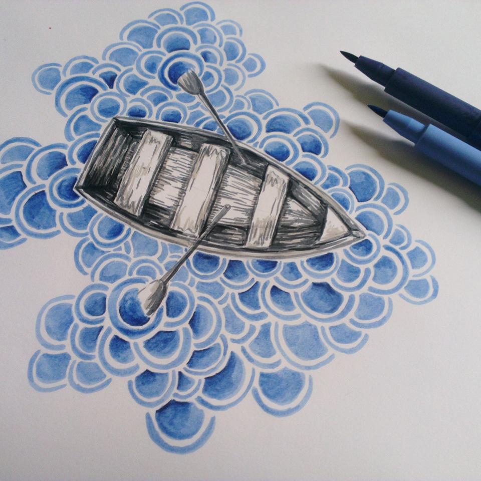 Ein Boot in blauen Wellen mit Faber-Castell Pitt Artist Pen.