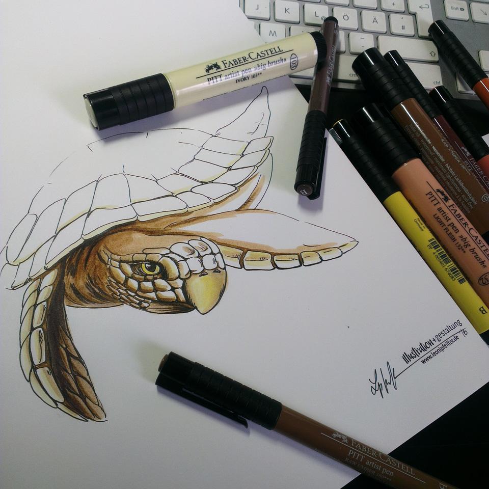 Pitt Artist in verschiedenen Farben auf dem Hahnemühle Papier.