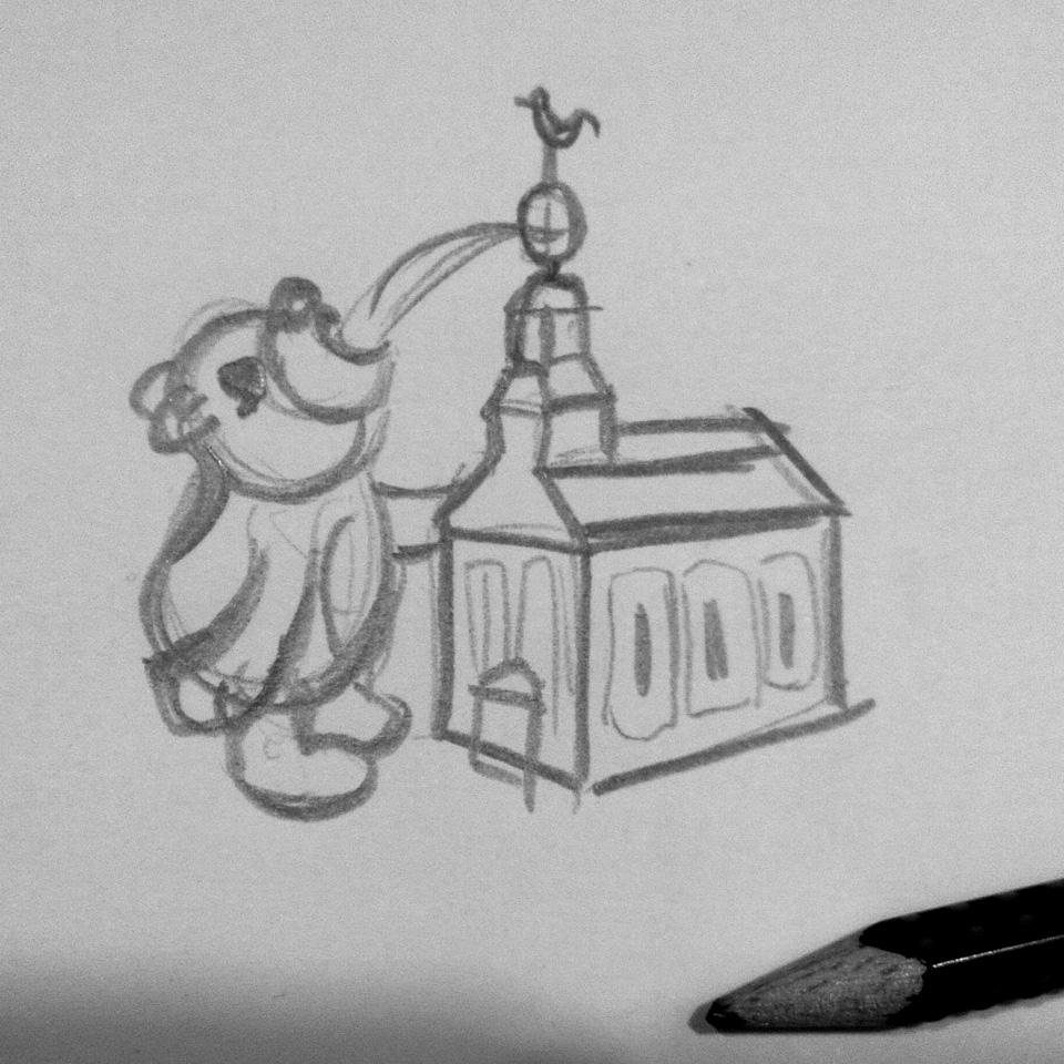 Der Bär steht an der Kirche und trinkt Schnaps aus dem Fass.