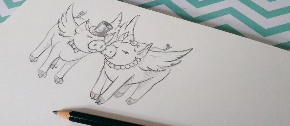Comicmäßige Skizze von einem schweinischen Hochzeitspaar.