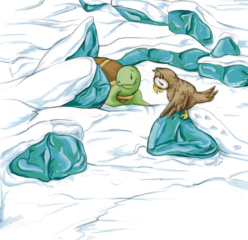 Leuchtend türkisfarbene Eisblöcke auf dem Baikalsee – Kröt und Schuhuu staunen.