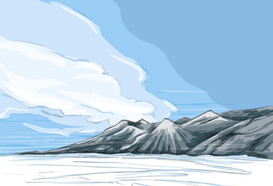 Der strahlend blaue Himmel über dem Eis.
