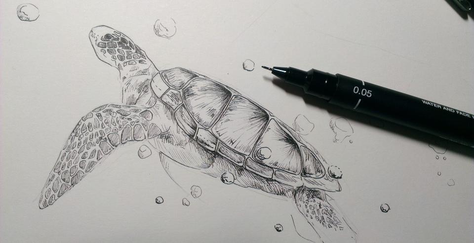 KW 10: Zeichnung mit Finelinern.