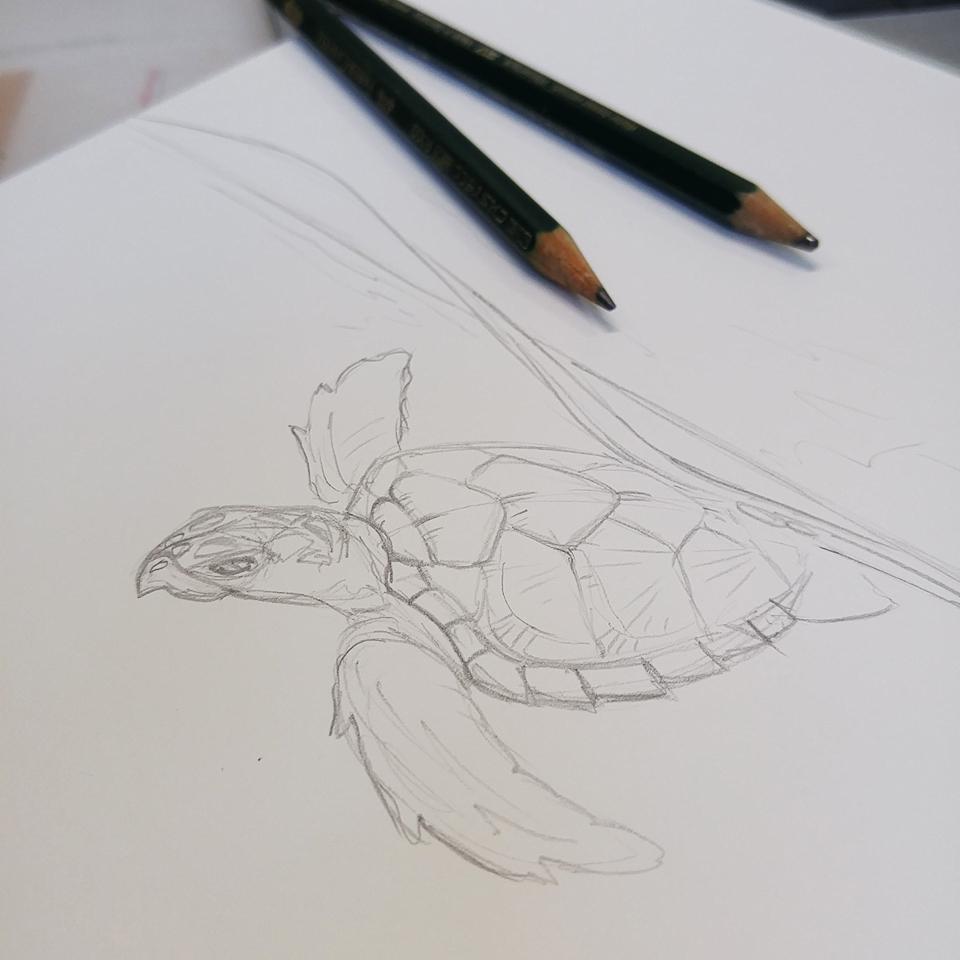 Anfang wie immer: Grobe Bleistiftskizze.
