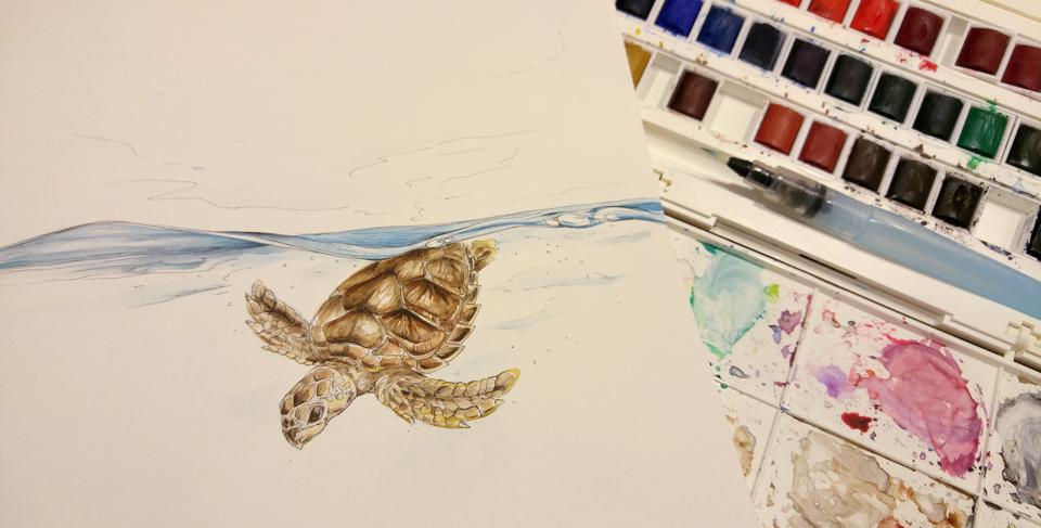 Schritt drei: Coloration mit Aquallfarben. Mit dabei: Pentel Waterbrush und der Kasten von Winsor & Newton.