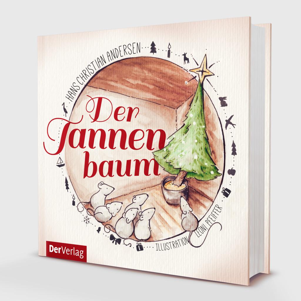 """Mein Entwurf für """"Der Tannenbaum"""" als Mock Up auf einem Buch."""