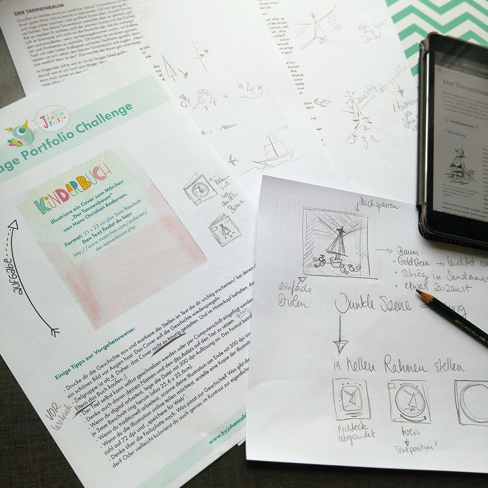 Die Aufgabe -das Briefing- genau studieren und Ideen sammeln, schon mit den ersten Thumbnail Skizzen.