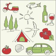 Illstration, Illustrate, Illustrator, ErfolgreichIllustrator, Muster, Pattern, Italy, Italien, Riviera, Fiat, Fiat 600, Vespa, Bella Italia