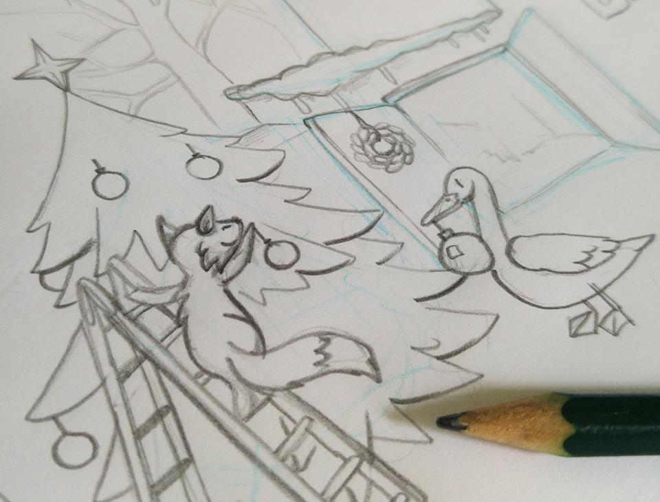Detailausschnitt der Zeichnung: Fuchs und Gans schmücken zusammen den Weihnachtsbaum.