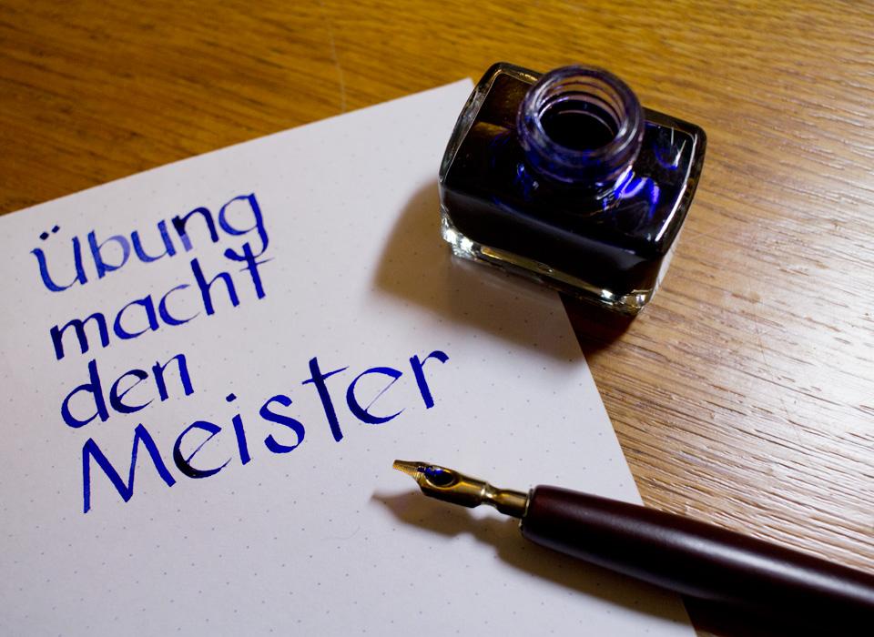 Übung macht den Meister –Serifenlose Antiqua