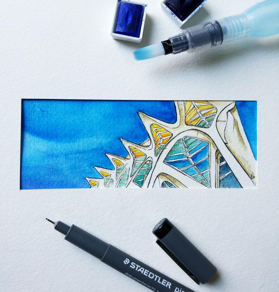 Ansicht in einem Passepartout zur Probe – alle Bilder bekommen ein farblich passendes in einem kleinen Rahmen.