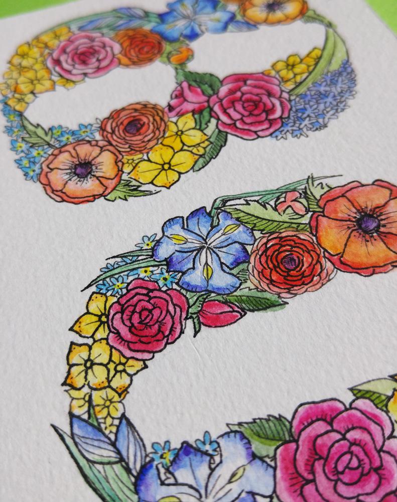 Detailansicht: Wunderbar bunt kommt diese 80 im floralen Schmuck daher.