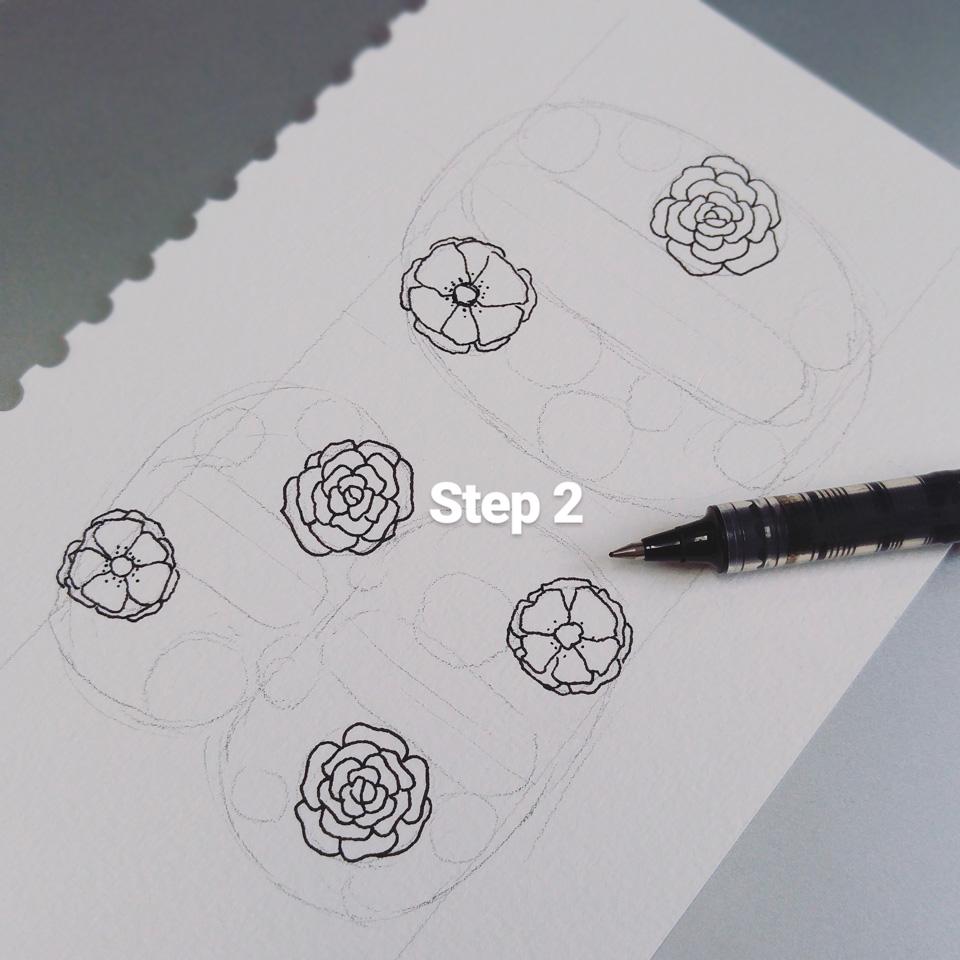 Step 2: Die großen Blüten werden mit wasserfestem Tusche-Fineliner gezeichnet.