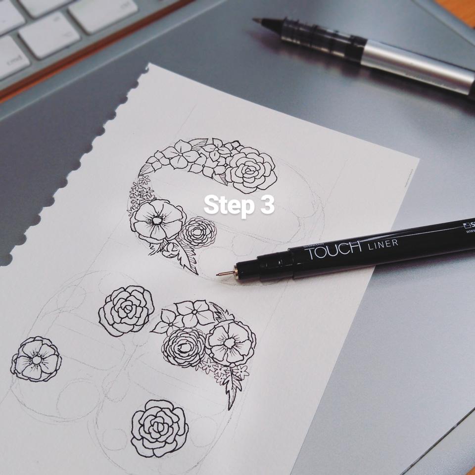 Step 3: feinere Linien für feinere Blüten mit einem dünneren Fineliner.