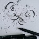Echt kuschelig – Der Anfang einer Eulen-Zeichnung